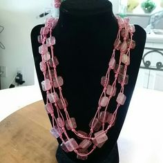 "BEAUTIFUL GLASS BEAD NECKLACE DIFFERENT PINK HUES 11"" long Jewelry Necklaces"