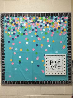 Confetti bulletin board #education #highschool