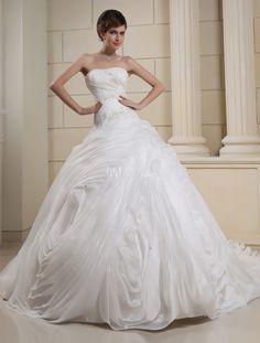 d0710eb14 Milanoo   White Strapless Pleated Beading Organza Bridal Wedding Gown.  Vestido ...