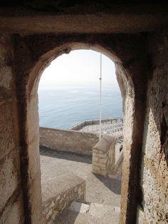 open doorway sea view at the mediterranean in spain, peniscola