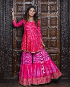 Designer party wear dresses - You're only 7 days away from where you will find trending styles from your favourite designers, live fashion walks,… Gharara Designs, Kurti Designs Party Wear, Sarara Dress, The Dress, Indian Gowns Dresses, Pakistani Dresses, Indian Attire, Indian Ethnic Wear, Indian Wedding Outfits