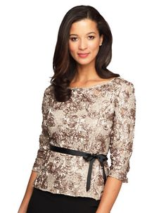 eb5119336bff8 Alex Evenings - Plus Belted Sequined Top
