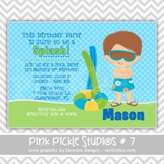 Boy Pool Party Personalized Party Invitation-personalized invitation, photo card, photo invitation, digital, party invitation, birthday, shower, announcement, printable, print, diy,swim, summer, water, splash