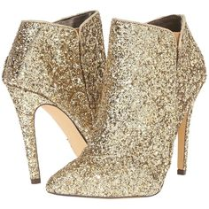 Michael Antonio Leighty - Glitter (Gold) Women's Pull-on Boots (160 RON) ❤ liked on Polyvore featuring shoes, boots, ankle booties, ankle boots, gold, gold stilettos, stiletto booties, gold glitter boots and glitter booties