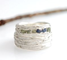 Rough Sapphire and Palladium Sterling Silver Redwoods Texture Rings by Beth Cyr