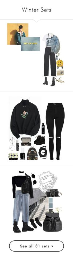 """Winter Sets"" by melissaemily08 ❤ liked on Polyvore featuring Kenzo, RE/DONE, Versace, Levi's, Ann Demeulemeester, Nokia, vintage, Topshop, Chapstick and Essie"