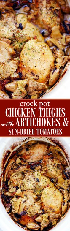 Crock Pot Chicken Thighs with Artichokes and Sun-Dried Tomatoes | www.diethood.com | Melt-in-your-mouth chicken thighs prepared in the crock pot with artichoke hearts and sun-dried tomatoes. | #crock_pot #chicken