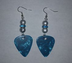 Blue Guitar Pick Earrings by NocturnalFashions on Etsy, $7.00