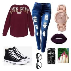 """❄️❄️"" by jaylyn-125 ❤ liked on Polyvore featuring Victoria's Secret, Converse, Michael Kors, Lime Crime and Mr. Gugu & Miss Go"