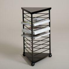 "Ricki Side Table -Steel 25"" H X 14 3/4"" W Stone top: Absolute Black"