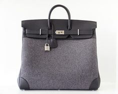 Guaranteed authentic very rare 50 Hermes Sac Haut a Courroies HAC Gris Moyen (Medium Grey)...