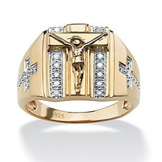 Anillo para hombre - Oro de 18k sobre plata de ley                                                                                                                                                                                 Más Sterling Silver Diamond Rings, Silver Promise Rings, Mens Gold Rings, Sterling Silver Cross, Sterling Silver Necklaces, Rings For Men, 925 Silver, Craft Jewelry, Men's Jewelry Rings