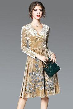 f72b9b9c25 Pleuche Deep V-neck Embroidery Long Sleeves Knee-length Party Dress