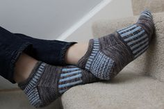 These sporty ankle socks worked in sport weight or heavy fingering weight yarn knit up in a jiffy, with just enough stranded colorwork to keep you entertained. A bit of short-row shaping at the ankle creates a pull tab to help you get your socks on, and the stranded pattern in the middle of the foot adds cushioning.