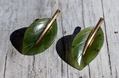 Gump's Art Deco Jade Gold Leaf Earrings by StarShineVintage