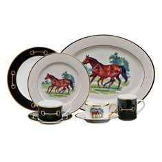 """Based on paintings by internationally acclaimed thoroughbred artist Julie Wear, the """"Bluegrass"""" (with horses) and """"Cheval Black"""" (with bits) patterns are impeccably designed with a master's eye for color and design."""