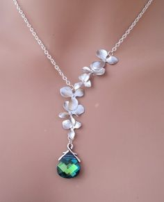 Bella Silver Matte Orchids and Swarovski aqua by RoyalGoldGifts