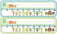 Desk Plates Owls with Number Line Owl themed desk plates with a place to write students names number line to These are great to label student desks with