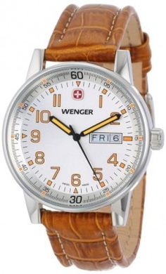 Relógio Wenger Men's 70170 Commando Day Date XL Silver Dial Brown Leather Strap Watch #Relógio #Wenger