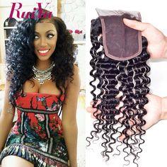 "Brazilian Deep Curly Closure Brazilian Virgin Hair Closure 8""-24"" Human Hair Closure Middle/Free/Three Part 4x4 Swiss Closure //Price: $62.48 & FREE Shipping //     #hairextension #style #beauty #woman #love"