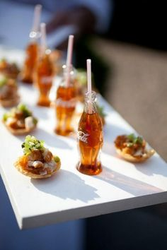 Wedding Appetizer Ideas WITH THUMBS UP BOTTLES instead of COCA COLA!
