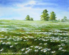 Daisies Field, Original watercolor painting by Varvara Harmon