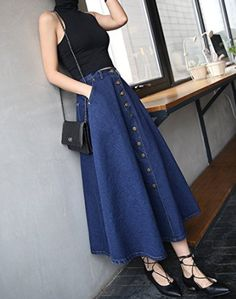 Falda vaquera larga #Amazonmoda #Modamujer #Moda2017/2018 #Faldas  #Outfit #fashion #Shopping #Denim #Vaquero