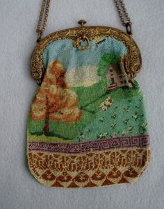 scenic-BEADED-purse-with-charming-scene-very-old-as-is