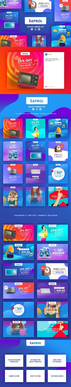 Buy Saprol Social Media Kit by BazicLab on GraphicRiver. Saprol Social Media Kit a handy tool that would turn your artwork into engaging promo images for social media. Social Media Ad, Social Media Branding, Social Media Banner, Social Media Template, Social Media Design, Social Web, Social Networks, Web Design, Web Banner Design