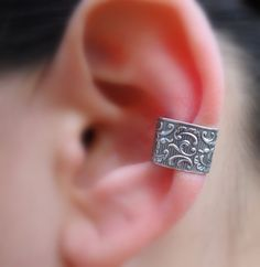 Sterling Silver Handcrafted Lace Textured Ear Cuff Hoop Earring Cartilage/catchless/helix