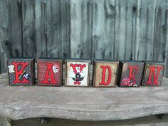 Chunky Personalized Wooden Name Blocks-- PIRATE--Boy's Room, Polka Dots, Pirate Ship, Stripes, Treasure, Black, Red, White on Etsy, $6.00