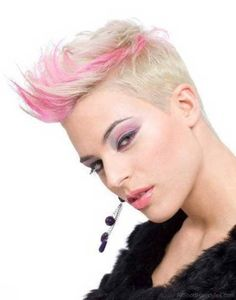 Blonde Pink Punk Pixie Cut