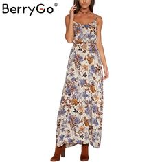 BerryGo Hollow out boho floral print maxi dress 2017 beach dress Strappy vestidos de festa Vintage summer dress women sundress