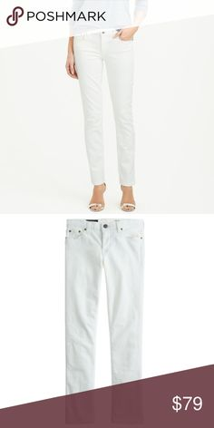 """J. Crew Matchstick Jean in White If straight without being skintight is your thing, then so are these jeans. These jeans sit above the hip, are fitted through the hip and thigh, and have a straight fit. They are made of cotton with a touch of stretch. The inseam measures 30"""". They are a size 33S. They are in excellent, like new condition. J. Crew Jeans Straight Leg"""