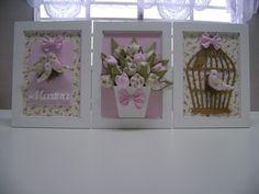 Trio de quadro passarinho Crafts To Make, Fun Crafts, Paper Crafts, Fairy Crafts, Flower Crafts, Baby Decor, Kids Decor, Felt Flowers, Paper Flowers