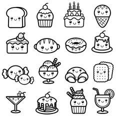 Postre — Ilustración de stock Easy Doodles Drawings, Cute Food Drawings, Mini Drawings, Cute Kawaii Drawings, Simple Doodles, Food Drawing Easy, Drawing Ideas, Cute Doodle Art, Doodle Art Drawing