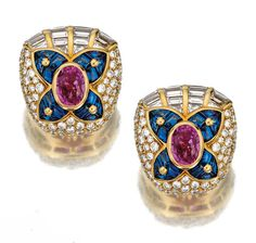 PAIR OF GEM-SET AND DIAMOND EARCLIPS, BULGARI.  Each centring on a stylised flower motif, composed of an oval pink sapphire with sapphire petals set with variously-cut cabochons, bordered by brilliant-cut and baguette diamonds, mounted in yellow gold, signed Bulgari and numbered, French assay and indistinct maker's marks