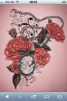Cameo & rose tattoo I want just withy mothers cameo portrait <3