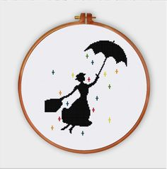 Mary Poppins nursery cross stitch pattern| Modern pop culture movie baby silhouette counted chart| Easy cute beginner instant download pdf by ThuHaDesign on Etsy https://www.etsy.com/listing/239680637/mary-poppins-nursery-cross-stitch
