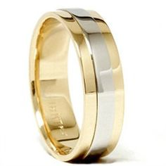 Mens 950 Platinum  18K Gold Two Tone Wedding Band New by Pompeii3, $699.00