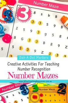 Our number recognition printables are the perfect activity to use with Do-A-Dot Markers. Try these Fun, Hands-on mazes for teaching number recognition now! Free Number templates available Numbers Kindergarten, Teaching Numbers, Numbers Preschool, Kindergarten Activities, Preschool Songs, Free Preschool, Preschool Printables, Preschool Learning, Teaching Kids
