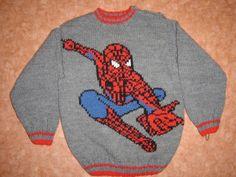 modèle tricot spiderman Boys Knitting Patterns Free, Sweater Knitting Patterns, Knitting For Kids, Loom Knitting, Knitting Projects, Spiderman Blanket, Knit World, Rag Quilt Patterns, Cross Stitch Baby
