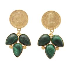 Malachite Coin Earrings (225 SGD) ❤ liked on Polyvore featuring jewelry, earrings, antique gold jewelry, earring jewelry, antique gold jewellery, coin earrings and coin jewelry