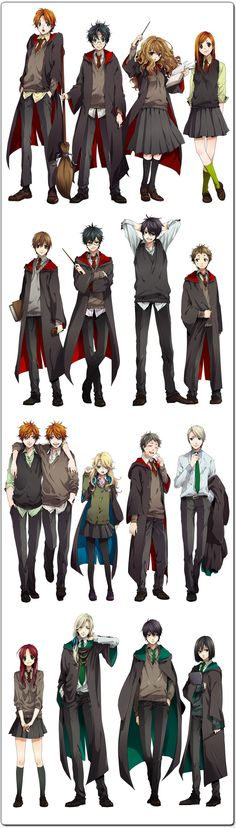 Anime Harry Potter! | Row 1: Ron, Harry, Hermonie and Ginny | Row 2: Remus Lupin, James Potter, Sirius Black and Pettigrew| Row 3: Fred & George, Luna, Neville and Draco | Row 4: Lily Evans, Lucius Malfoy, Regulus Black and Snape