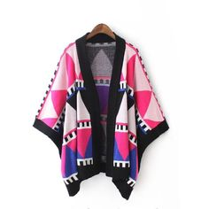 Color Block Knitted Cape Disheefashion ($37) ❤ liked on Polyvore featuring outerwear and cape coat