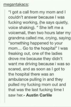 Austin Carlile talking about when he lost his mother