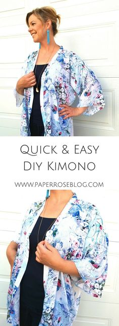 Create this #nopattern #DIY #kimono with basic sewing skills, basic measurements, fabric, and a #sewingmachine. Very quick and easy #sewing project for #beginners. Step by step #sewingtutorial helps you create this #boho #chic kimono in an afternoon.