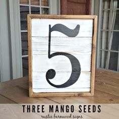 Family NUMBER SIGN / 13x16 / Wood Sign / Housewarming / Fixer Upper Style / Farmhouse Style / Gift / Gallery Wall / Reclaimed Wood / FIVE by mangoseedmarketplace on Etsy