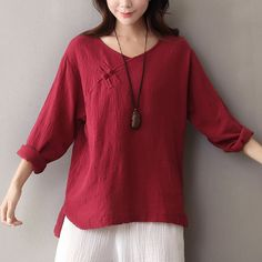 women blouses on sale at reasonable prices, buy V-neck Long sleeve Solid  Women Blouse Shirt Chinese style Button Cotton Linen Shirt Brand Original  Design ...