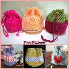 If you are planning a birthday present, and want some king of pretty and decorative Goody Bag, then this Round Base Crocheted Goody Bag is for you. Crochet Girls, Cute Crochet, Crochet Crafts, Crochet Projects, Knit Crochet, Crochet Designs, Crochet Patterns, Knitting Club, Crochet Shell Stitch